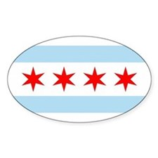 Chicago City Flag Oval Decal