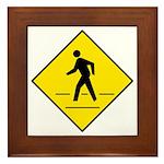 Pedestrian Crosswalk Sign - Framed Tile