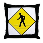 Pedestrian Crosswalk Sign - Throw Pillow