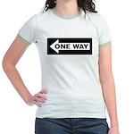 One Way Sign - Left - Jr. Ringer T-Shirt