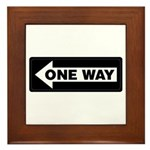 One Way Sign - Left - Framed Tile