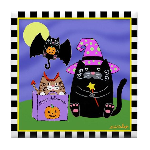 Halloween Cats Amp Bat Cat Tile Coaster By Artsandcats