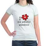 I Love My Autistic Grandson Jr. Ringer T-Shirt