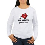 I Love My Autistic Grandson Women's Long Sleeve T-