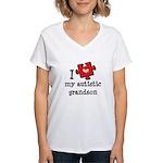 I Love My Autistic Grandson Women's V-Neck T-Shirt