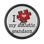 I Love My Autistic Grandson Large Wall Clock