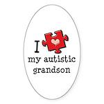 I Love My Autistic Grandson Oval Sticker