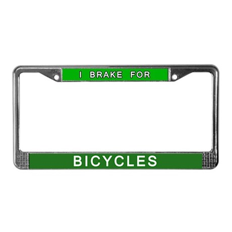 I Brake for Bicycles License Plate Frame
