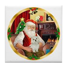 Santa's Maltese 11 Tile Coaster