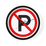 No Parking Sign - Wall Clock