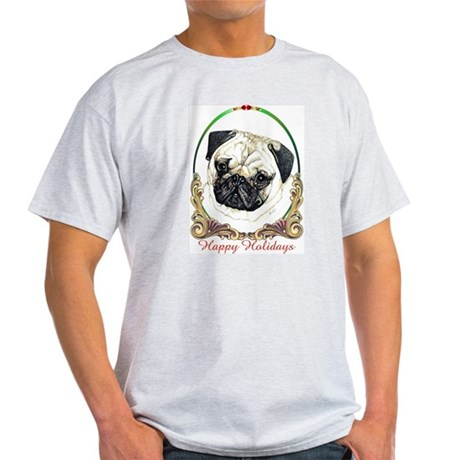 Pug Happy Holiday Ash Grey T-Shirt