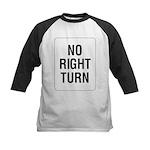 No Right Turn Sign Kids Baseball Jersey