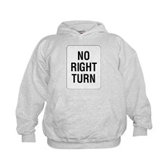 No Right Turn Sign Kids Hoodie
