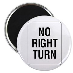 No Right Turn Sign - 2.25