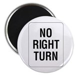 No Right Turn Sign - Magnet