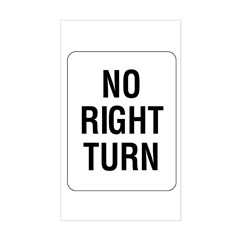 No Right Turn Sign - Rectangle Decal