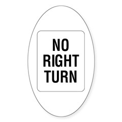 No Right Turn Sign - Oval Sticker
