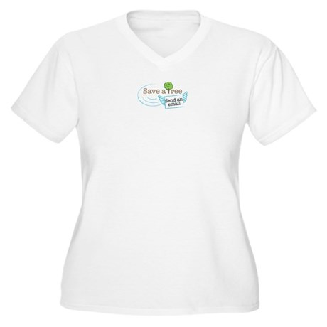 Save A Tree, Send An Email Women's Plus Size V-Nec