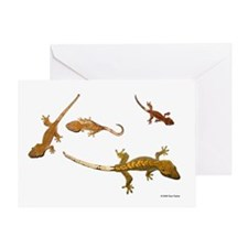 Four Crested Geckos Greeting Card