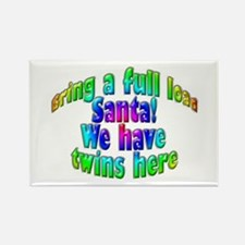 Santa Twins Here Rectangle Magnet