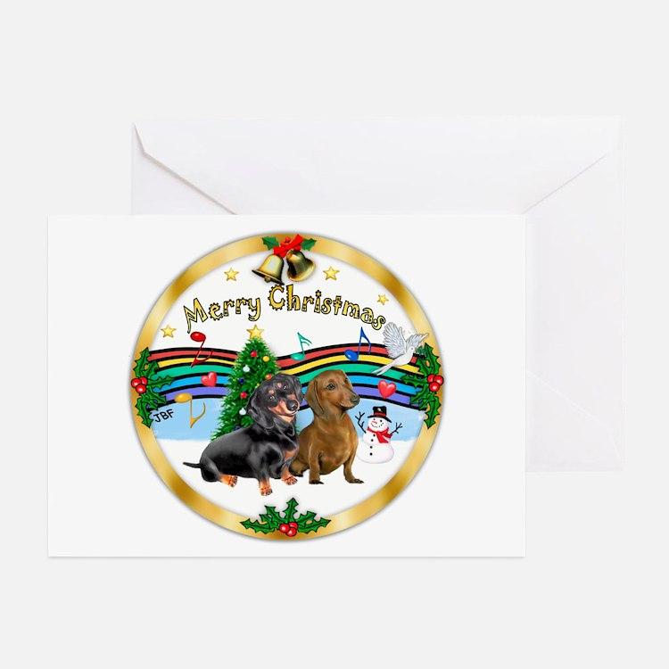 XmasMusic1/2 Dachshunds Greeting Cards (Pk of 20)