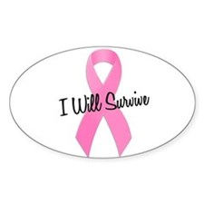 Pink Ribbon I Will Survive Oval Stickers