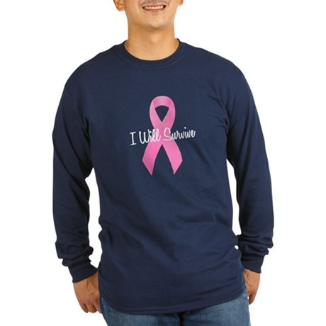 Pink Ribbon I Will Survive Long Sleeve Dark T-Shir