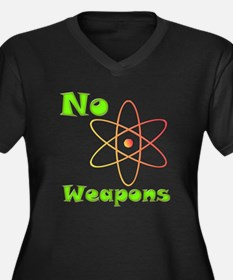 No Nuclear Weapons Women's Plus Size V-Neck Dark T