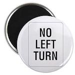 No Left Turn Sign - Magnet