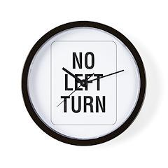 No Left Turn Sign - Wall Clock