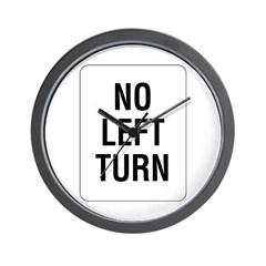 No Left Turn Sign - Wall Clock