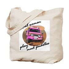 Real women play in mud puddle Tote Bag