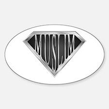 SuperMuslim(metal) Oval Decal