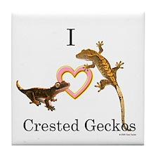 I Love Crested Geckos Tile Coaster