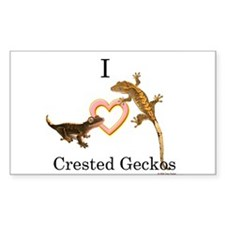 I Love Crested Geckos Rectangle Decal