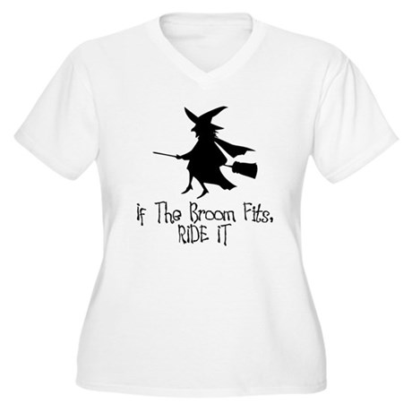 If the Broom Fits Women's Plus Size V-Neck T-Shirt