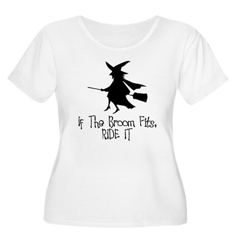 If the Broom Fits Women's Plus Size Scoop Neck T-S