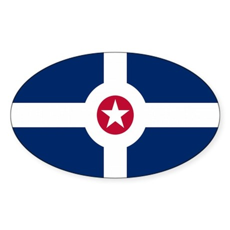 Indianapolis City Flag Oval Sticker (10 pk)