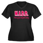 M.A.D.D. Women's Plus Size V-Neck Dark T-Shirt