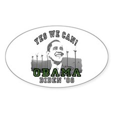 Obama Yes We Can Green Oval Decal
