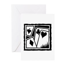 SUITS B/W poker Greeting Cards (Pk of 10)