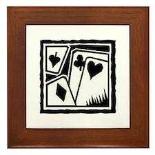 SUITS B/W poker Framed Tile