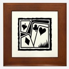 SUITS B/W poker Framed Tile