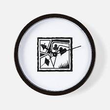 SUITS B/W poker Wall Clock