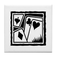 SUITS B/W poker Tile Coaster