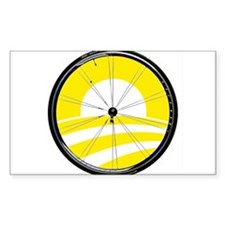Obama Logo with Bicycle Tire in Yellow Decal