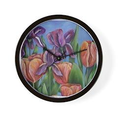 Mainly Irises Wall Clock