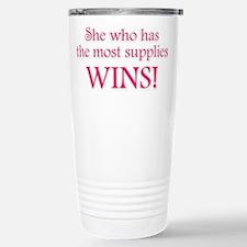 She Who Has the Most Supplies Travel Mug