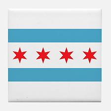 Cute Chicago flag Tile Coaster