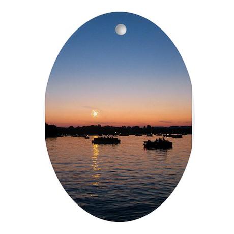 Summer Sunset Oval Ornament